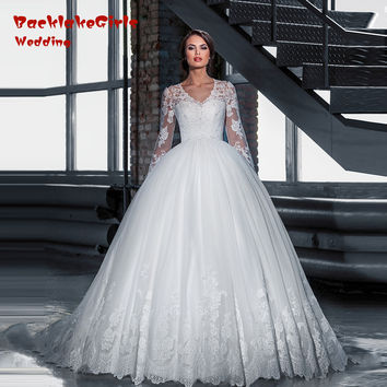 Vestido novia 2016 New Arrival Long Sleeve Ball Gown Wedding Princess Lace Robe mariage Bride Dress