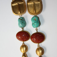 Couture Egyptian Scarab Earrings Designer Revival Drop Dangle 1970s Jewelry