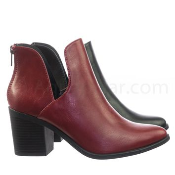 Durable Stack Block Heel Ankle Booties w Side Slit Opening