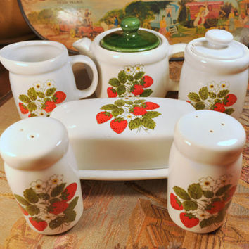 Vintage 1970's McCoy Strawberry Country Set - Teapot, butter dish, creamer and sugar and salt and pepper shakers