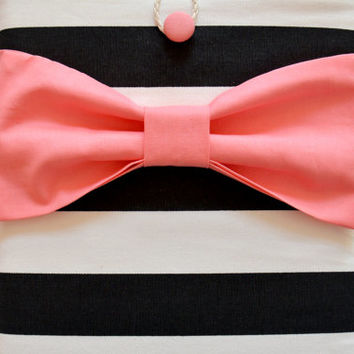 """Macbook Pro 13 Sleeve MAC Macbook 13"""" inch Laptop Computer Case Cover Black & White Stripe with Salmon Pink Bow"""