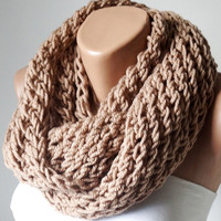 Infinity Scarf,Loop Scarf,  Circle Scarf, Cowl Scarf Camel, Tan Chunky