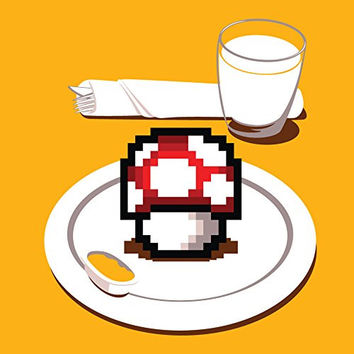 'Nutritious Breakfast' Funny Video Game Parody Mushroom on Plate 18x18 - Vinyl Print Poster