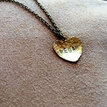 Vegan - Rustic Hammered Stamped Handmade Heart Pendant Necklace - Vegan pendant - Vegan necklace - Vegan jewelry - Vegetarian pendant - Boho