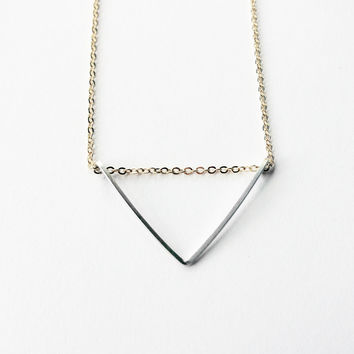 Sterling & Gold Triangle Geometric Necklace