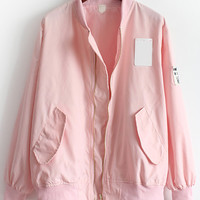 Pink Stand Collar Pockets Loose Jacket | MakeMeChic.COM