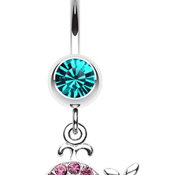 Adorable Whale Multi-Glass-Gem Belly Button Ring