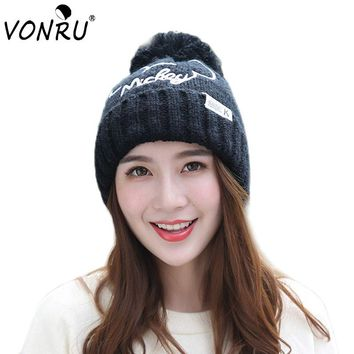 Women' s Fashion Cartoon Caps Winter Bonnet Femme Hiver High Quality Cute Ladies Thick Warm Hat Wool Beanie Pompom Ball Hats