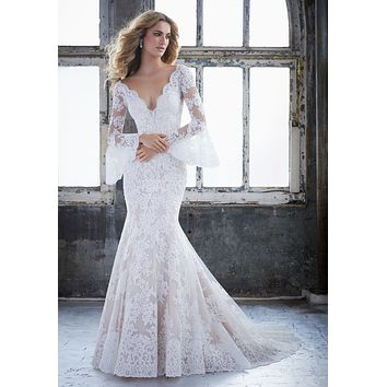 Morilee 8221 Kendall Lace Bell Sleeve Fit & Flare Wedding Dress