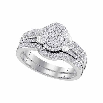 10kt White Gold Womens Round Diamond Oval Bridal Wedding Engagement Ring Band Set 3/8 Cttw