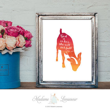God is in her she will not fall Printable Art Psalm 46:5 Bible Verse Art print Nursery Art Instant Download Animal Digital Art Print