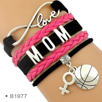 Family Friends party Board game Basketball Mom Bowling Sports Infinity Love Charm Bracelets Blue Red Green Black Gold Adjustable Jewelry Women Men Boy Girl Gift AT_41_3