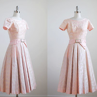 pink dress 50. vintage full dress 1950's. xs. floral embroidered. pastel. 50's pink party dress.