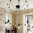 Antique Black Large Barn Chandelier with 10 Lights Painted Finish Bulbs Included