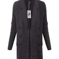 LE3NO Womens Oversized Double Breasted Button Down Blazer Coat Jacket with Pockets