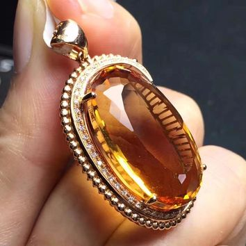 Fine Jewelry Collection Brazil Origin Real 18K Rose Gold 100% Natural Yellow Citrine Gemstones Fine Chic Pendant Necklace