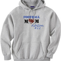 Football Mom Shirt.  Personalized with Players Name and Number.  Hoodie Sweatshirt in Gray.