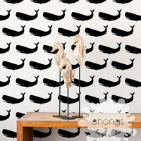 Whale Wall Decal / 54 Whales Wall Decal / Kids Room Wall Decal / Home Decor / Nursery Wall Decal
