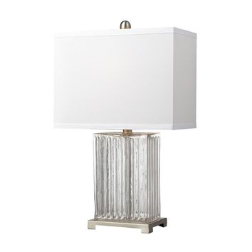 Ribbed Clear Glass Table Lamp in Brushed Steel Clear