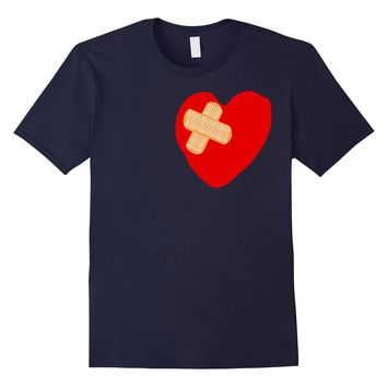 Patched up Heart Graphic Tee-Shirt with Band-aids