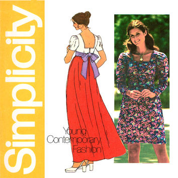 1970s Empire Waist Dress Pattern Bust 34 UNCUT Simplicity 5469 Maxi or Mini Dress Square Neckline Tie Sash Womens Vintage Sewing Patterns