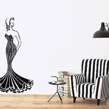 Wall Stickers Vinyl Decal Hot Sexy Girl Gorgeous Dress Luxury Figure (n170)