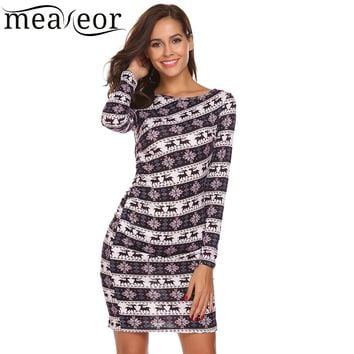 Meaneor Christmas Slim Sexy Dresses