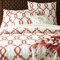 Organic Ikat Links Duvet Cover + Shams - Ginger
