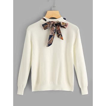 Solid Knotted Decoration Sweater