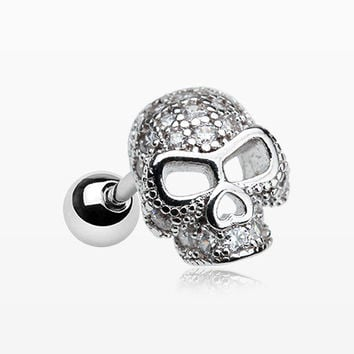 Death Skull Sparkle Cartilage Tragus Barbell