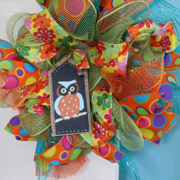 Owl Wreath Girls Owl Bedroom Dorm Decor Owl Nursery Bright Summer Wreath Owl Chalkboard Tag Small Owl Wreath Deco Mesh Summer Girl Decor