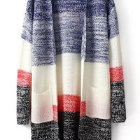 Blue Color Block Pockets Loose Knit Cardigan