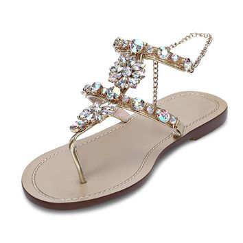 Toe Post Rhinestone Ankle Chain Women Flat Sandals