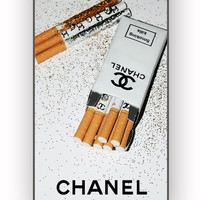 Girly White Glitter Chanel Cigarettes Packet for iPhone 4/4S Case **