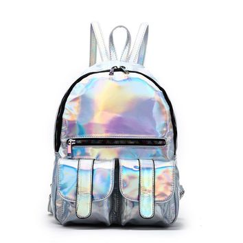 Silver Hologram Dual Pocket Backpack with Rainbow Zipper Back To School