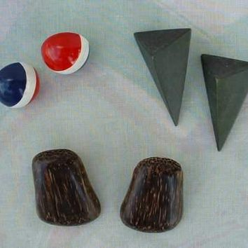 Lot of 3 Pairs Wood Earrings 2 Post 1 Clip Vintage Jewelry