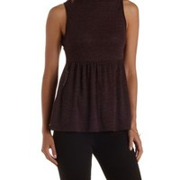 Burgundy Cmb Sleeveless Mock Neck Babydoll Top by Charlotte Russe
