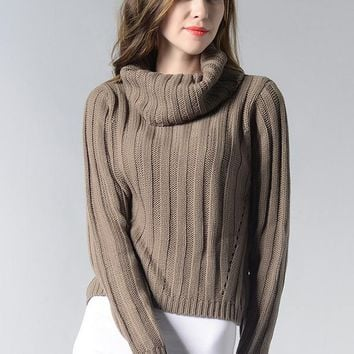 High Neck Pure Color Long Sleeves Short Sweater