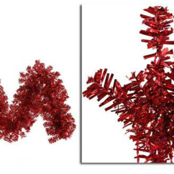 Artificial Christmas Garland - 9ft. - Red Laser Tinsel