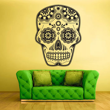 Wall Decal Mural Sticker Beautyfull Cute Sugar Skull Bedroom Curly Menhdi fashion (z2050)