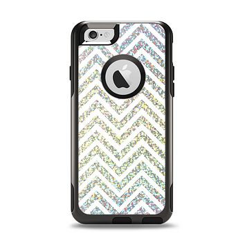 The White & Confetti Glitter print Sharp Chevron Apple iPhone 6 Otterbox Commuter Case Skin Set