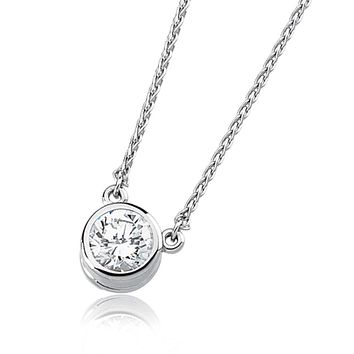 Cubic Zirconia and 14k White Gold Solitaire Necklace