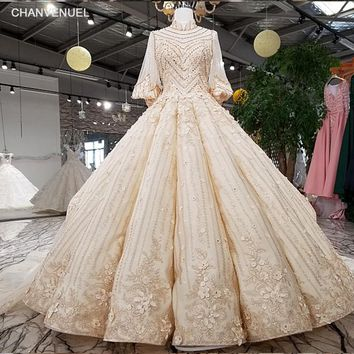 LS92241 2018 Luxury rhinestone wedding dress high neck ball gown lace up champagne bridal wedding gowns with train real as photo