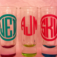 Personalized Monogrammed Colored Shot Glass by SouthernSassGSU