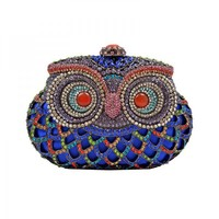 Cute Blue Owl Clutch