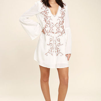 Beauty and the Beach Ivory Embroidered Long Sleeve Dress