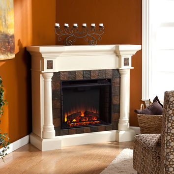 Carrington Faux Slate Convertible Electric Fireplace, Ivor
