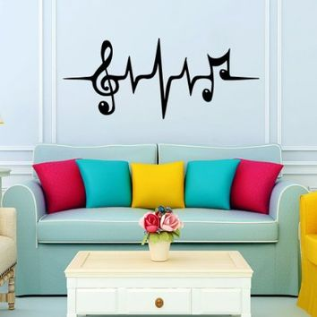 Music Puls Treble Clef Notes Wall Decal Vinyl Sticker Wall Decor Home Interior Design Art Murals VK91