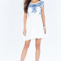 Embroidered Boatneck Drawstring Dress