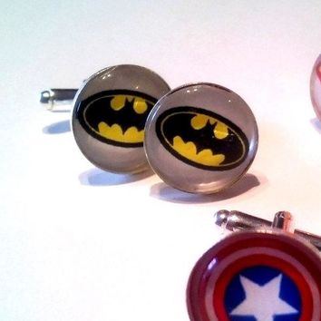 Bat Man! Superman!  DC Comics Super Hero Cuff Links, Groomsmen. Wedding Party Discount